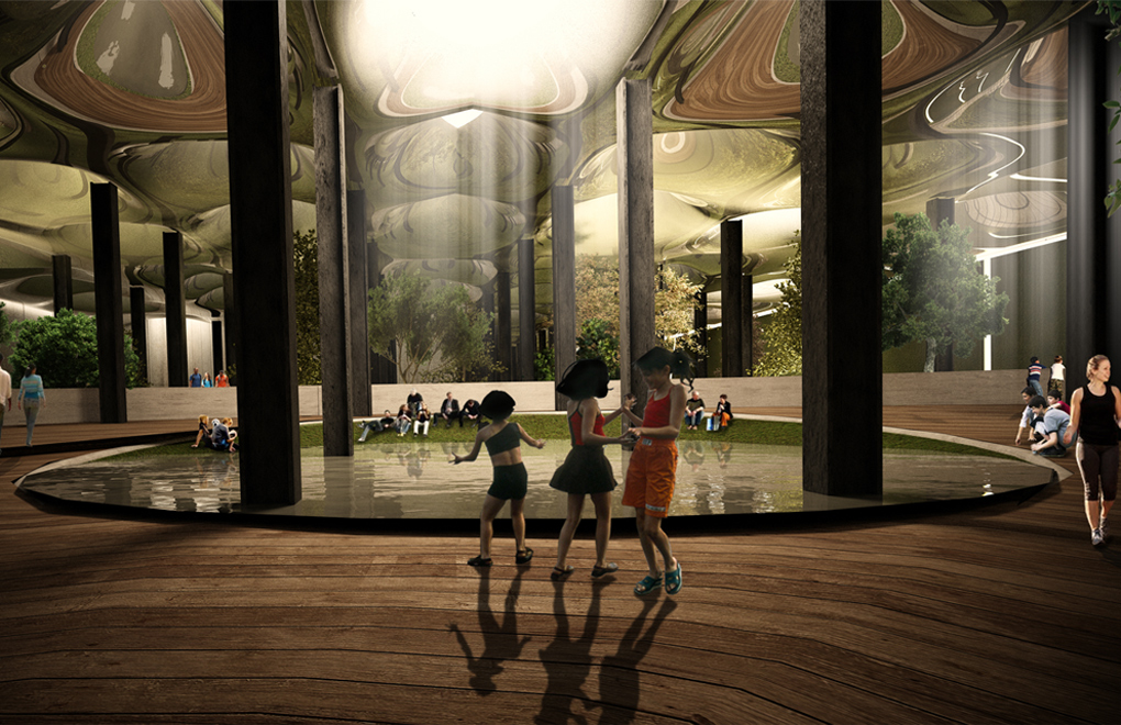 An artists rendering of the future Lowline Park