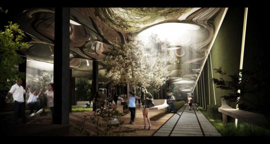An artist's rendering of the future Lowline Park